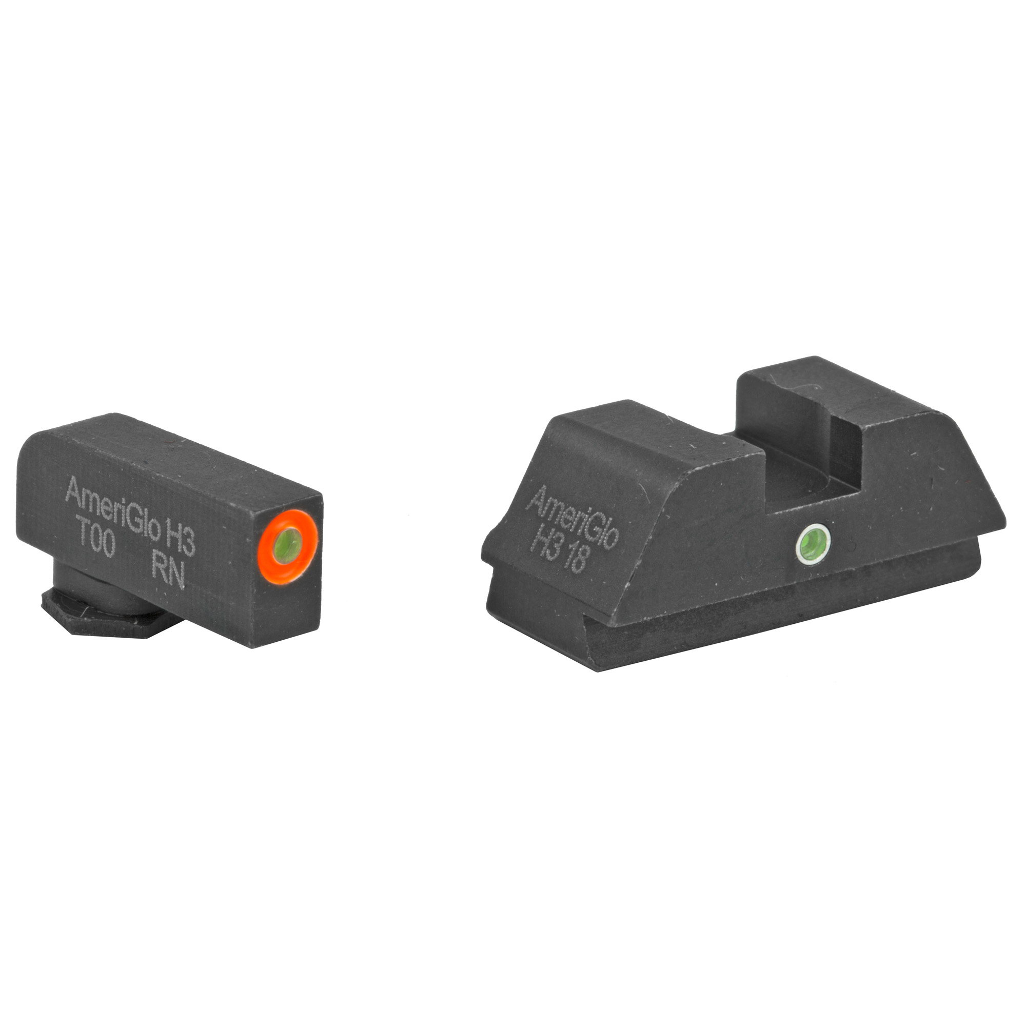 Ameriglo Tritium I-Dot Sight Set GLOCK 42/43 Green Tritium Front With Orange Outline Green Tritium Rear With Square Notch Steel Matte Black