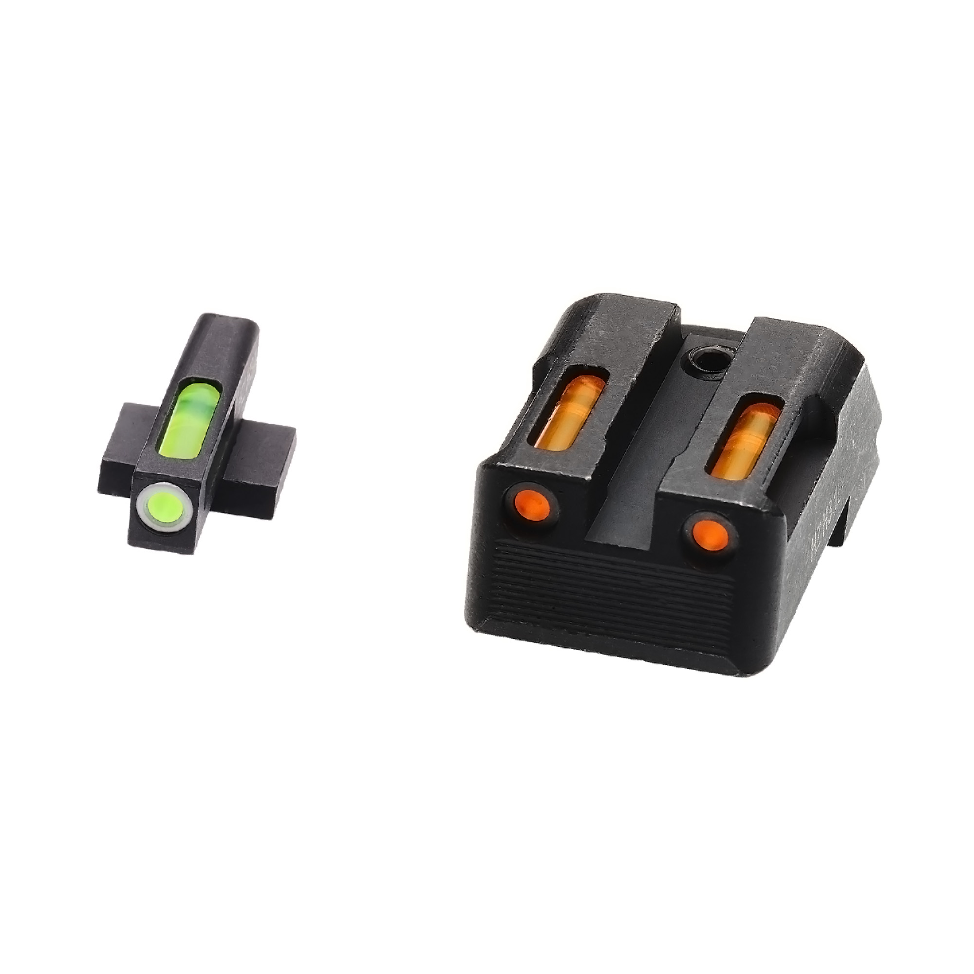 HiViz Litewave H3 Tritium/Litepipe fits Kimber 1911 Models Green Front Sight with White Front Ring/Orange Rear Sight