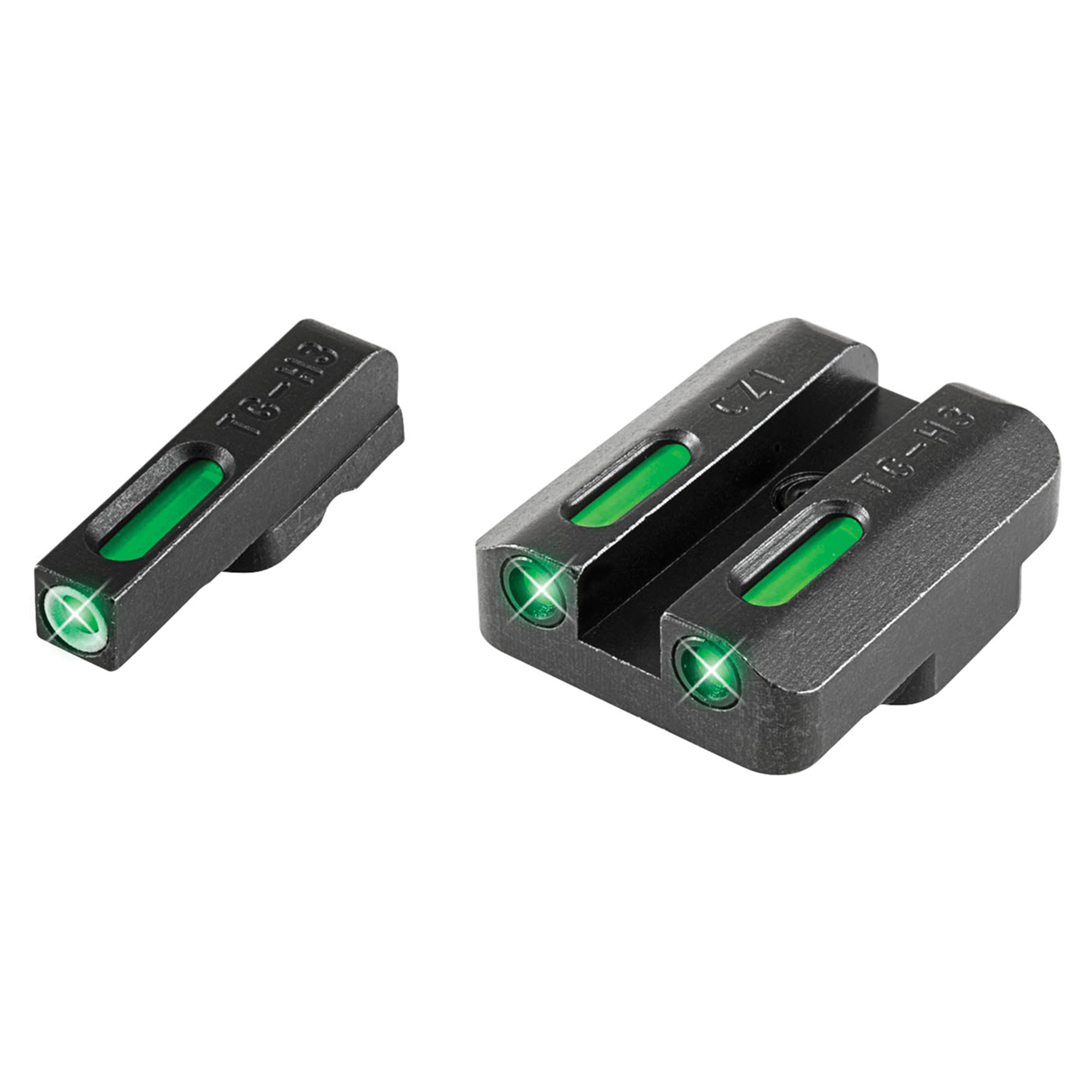 TruGlo TFX Standard Height CZ 75 Series Front/Rear Day/Night Sight Set Green Tritium 3-Dot Configuration Front White Focus Lock Ring Square Cut Rear Notch