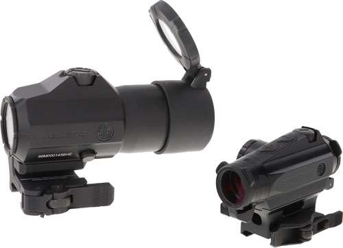 SIG Sauer Romeo4 Red Dot Optic/Juliet4 4X Magnifier Combo 2 MOA Low Mount .50 MOA Adjustment Unlimited Eye Relief 10 Daytime/2 Night Vision Settings CR2032 Battery Graphite/Black
