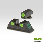 Meprolight Tru-Dot Night Sight Set for 9mm, .357 Sig, .40 S&W & .45 GAP - Green/Green ML10224